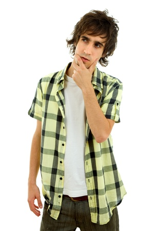 casual young man portrait, isolated on white photo