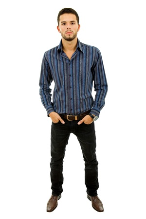 young casual man full length in a white background