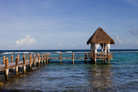wooden dock at the caribbean sea at Yucatan Peninsula, Mexico photo