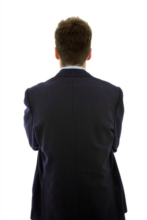 young businessman from behind, isolated on white Stock Photo