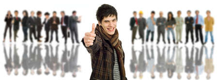 an young man in front of a group of people, isolated Stock Photo - 8474391