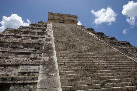 Ancient Mayan pyramid, Kukulcan Temple at Chichen Itza, Yucatan, Mexico photo