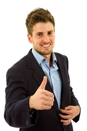 young business man going thumb up, isolated on white Stock Photo - 8518431