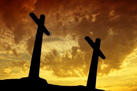 cross silhouette with the sunset as background Stock Photo - 8541376