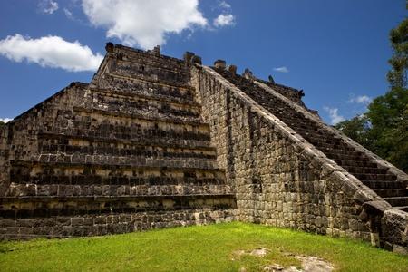 Ancient Mayan temple detail at Chichen Itza, Yucatan, Mexico photo