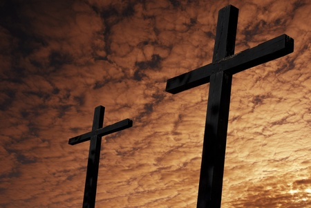 cross silhouette with the sunset as background Stock Photo - 8590681