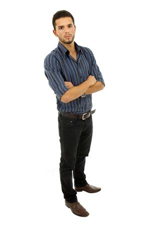 expression corporelle: jeune homme occasionnels tout le corps dans un fond blanc