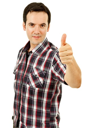 young casual man portrait going thumb up in a white background photo