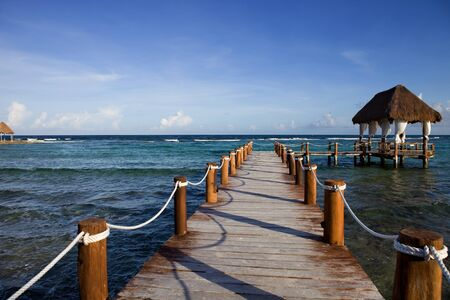 wooden dock at the caribbean sea at Yucatan Peninsula, Mexico Stock Photo - 8619237