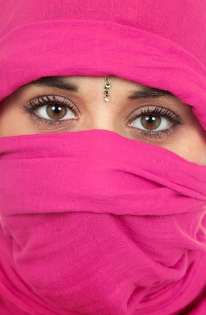 young woman with a veil, close up portrait, studio picture Stock Photo - 8718770