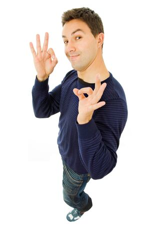 crazy man: young casual man full body, isolated on white