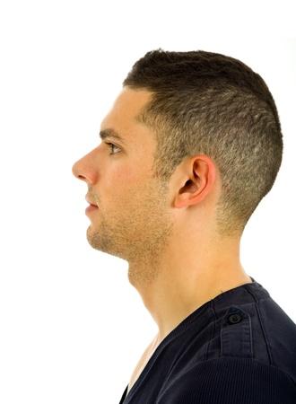 hombre de perfil: Perfil de joven casual, aislado en fondo blanco
