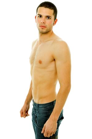 young sensual man on a white background photo