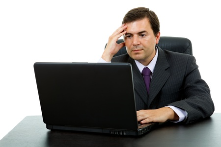 young business man working with is laptop, isolated Standard-Bild