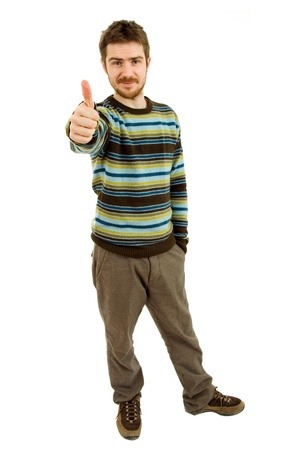 young casual man going thumb up in a white background photo