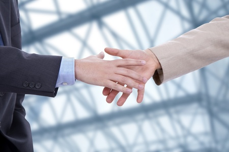customer relationship: Business men hand shake at the office
