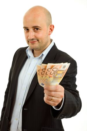 young business man with money, isolated on white background photo
