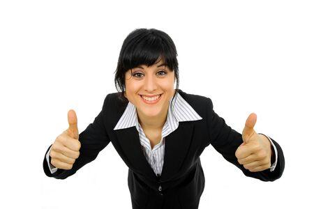 amabilidad: Retrato de mujer de negocios de jóvenes va pulgares arriba, aislado en fondo blanco