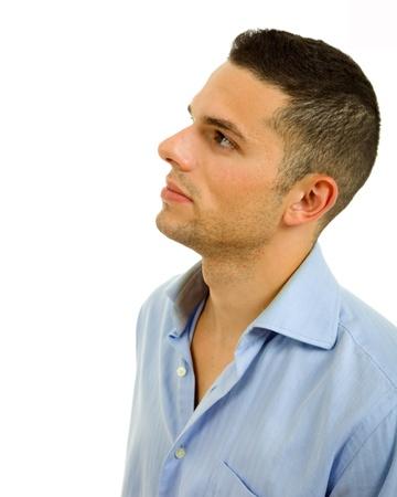 Profilo di giovane uomo casual, isolato su sfondo bianco Archivio Fotografico
