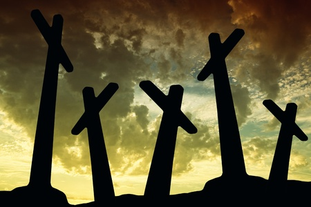 cross silhouette with the sunset as background Stock Photo - 8941307