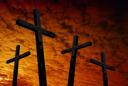 cross silhouette with the sunset as background Stock Photo - 9104571