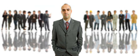 business man in front of a group of people photo