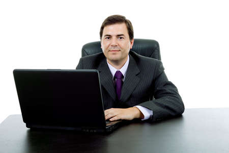 young business man working with is laptop Stock Photo - 9106488