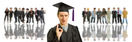 happy young man after his graduation with some people on the back Stock Photo - 9220339