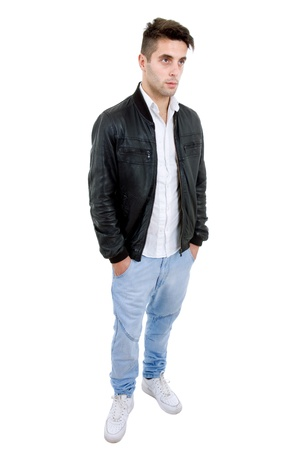 young casual man full body in a white background Stock Photo - 9331640