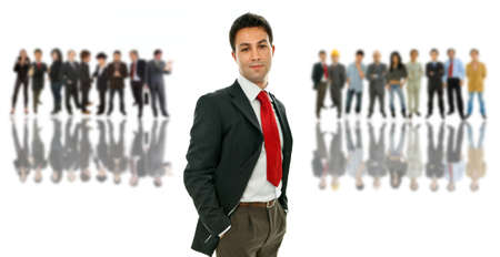 young business man with some people on the back Stock Photo - 9341192