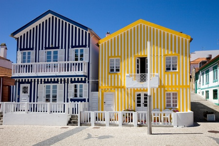 Typical houses of Costa Nova, Ilhavo, Portugal. Stock Photo