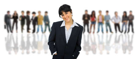 young business woman with some people on the back  photo