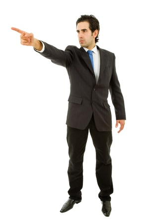 young business man in a suit pointing with his finger Stock Photo - 9464293