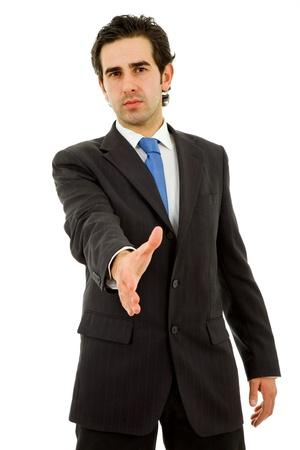 poses de modelos: joven en traje ofreciendo a la mano