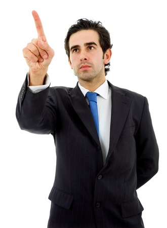 young business man in a suit pointing with his finger Stock Photo - 9620916