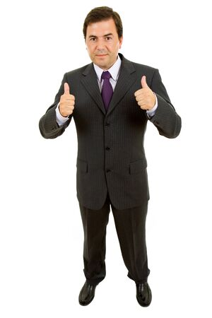 business man going thumbs up, isolated on white  photo