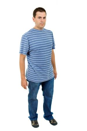 expression corporelle: jeune homme d�contract� complet du corps dans un fond blanc