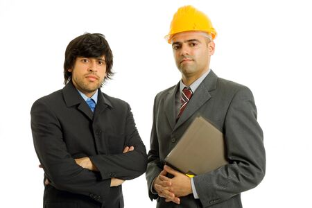 two young business men in a white background photo