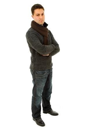 흰색 배경에서 젊은 캐주얼 남자 몸 전체 스톡 콘텐츠 - 9641208
