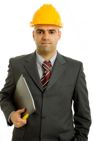 An engineer with yellow hat, isolated on white Stock Photo - 9641272