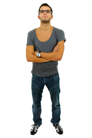 young casual man full length in a white background photo