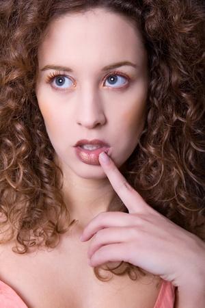 an young beautiful woman close up portrait photo