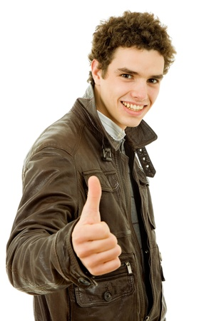 young casual man going thumb up in a white background Stock Photo - 9731975