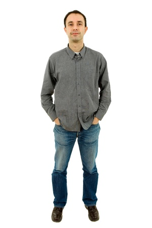 young casual man full body in a white background photo