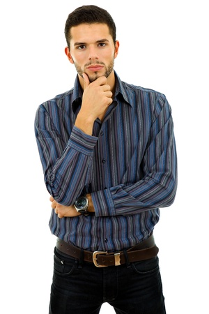 studio picture of a pensive young man, isolated on white photo