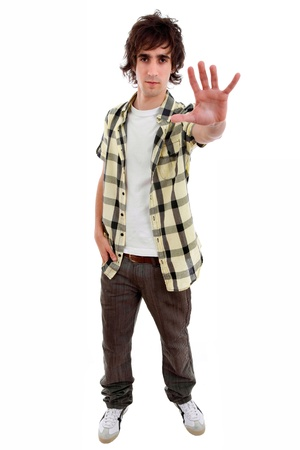 young casual man going stop with the hand, in a white background Stock Photo - 9843072