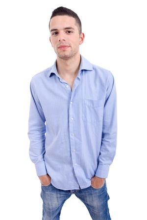 young casual man portrait, isolated on white photo