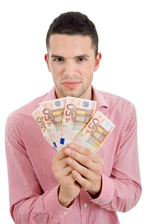 jeune homme d?ntract?vec beaucoup d'argent Banque d'images - 9973361