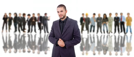 business man in front of a group of people Stock Photo - 10094836