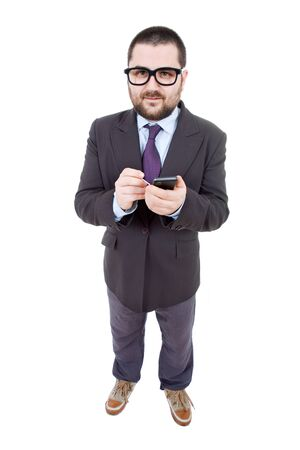 young business man looking to his phone, isolated photo